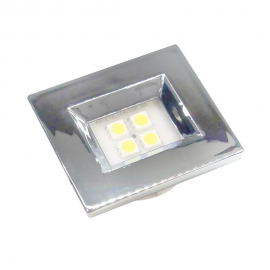 LUMINARIA CROMADA RETANGULAR 4 LEDS QUENTE 40X46 E314C